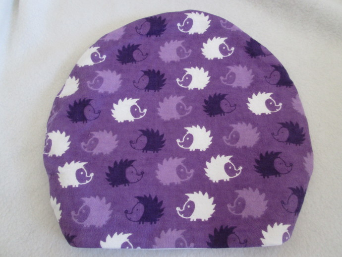 Purple Hedgehogs on Parade Round Sleeping Bag for Hedgehogs made to fit inside