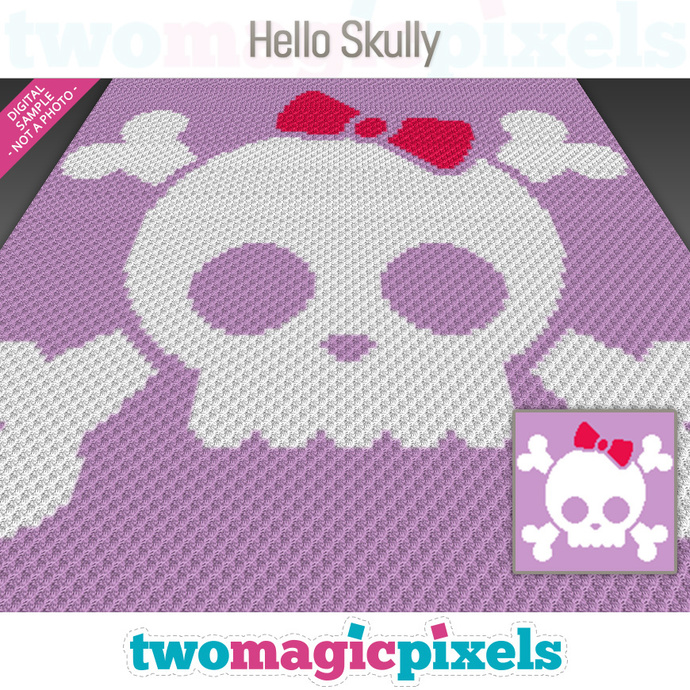 Hello Skully crochet graph (C2C, Mini C2C, SC, HDC, DC, TSS), cross stitch;