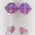 Ruby Hearts Earrings - handmade artisan lampwork sterling silver pink amethyst