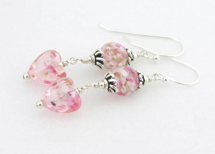 Pink Venetian Hearts Earrings - handmade venetian glass sterling silver pink