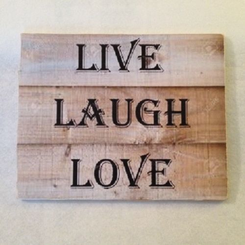 Rustic Wooden Decoupage Sign Live Laugh Love 7.5 x 9 Wall Hanging Item 5855