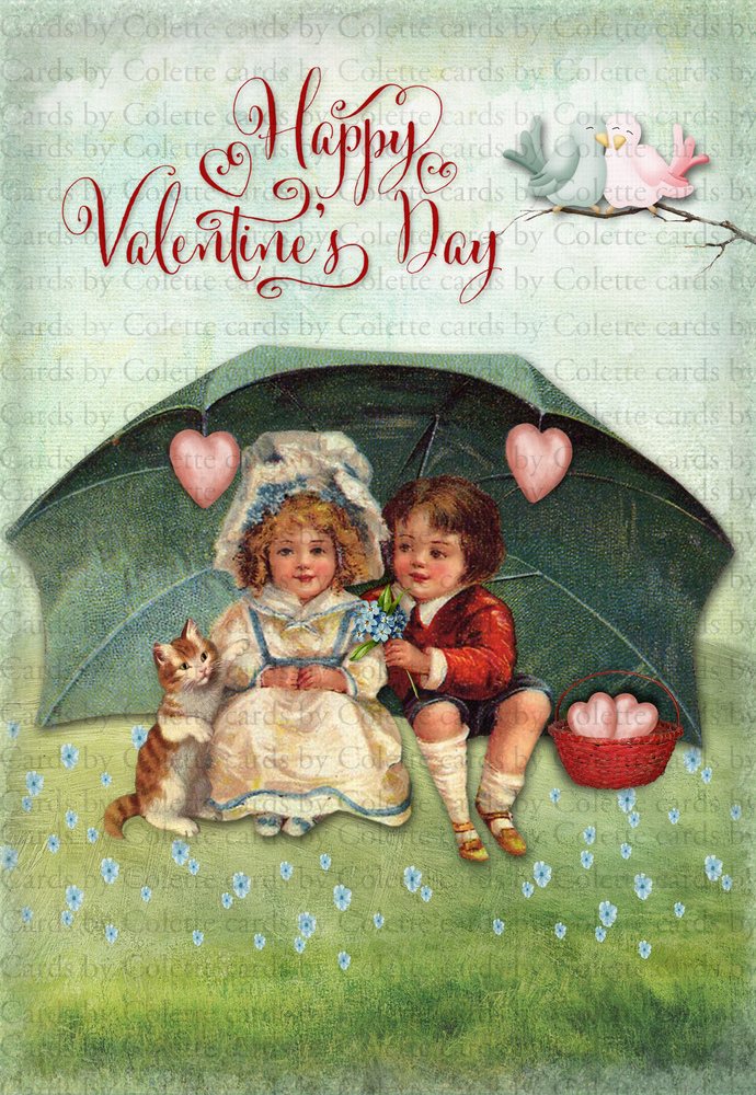 Valentine Young Love Digital Collage Greeting Card2157