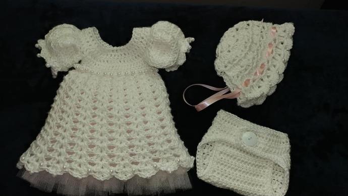 3 Pc Newborn Hand Crochet beaded Baby Girl Dress Diaper cover and Bonnet