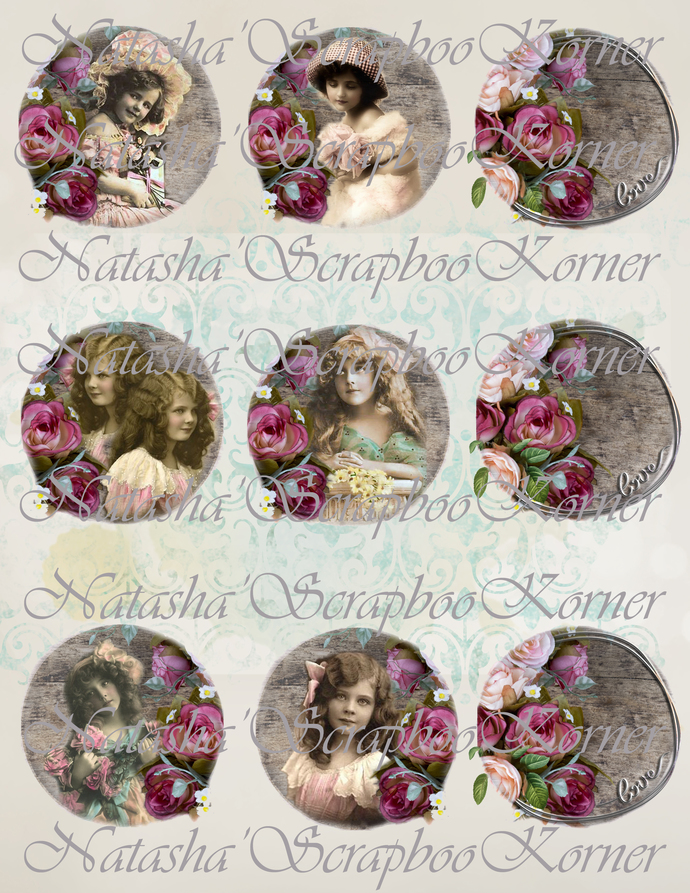 Vintage Children Love 2.5 inch Printable Circle Tag Frame Digital Collage