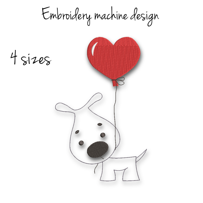 Embroidery machine designs dog love heart