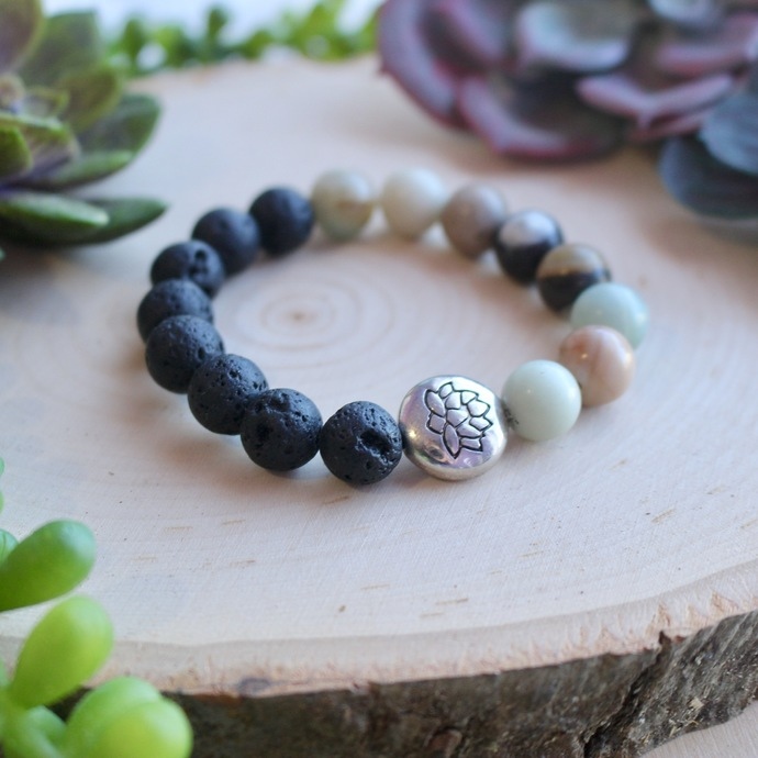 Simple Amazonite and oil diffusing beaded boho bracelet with lotus flower charm