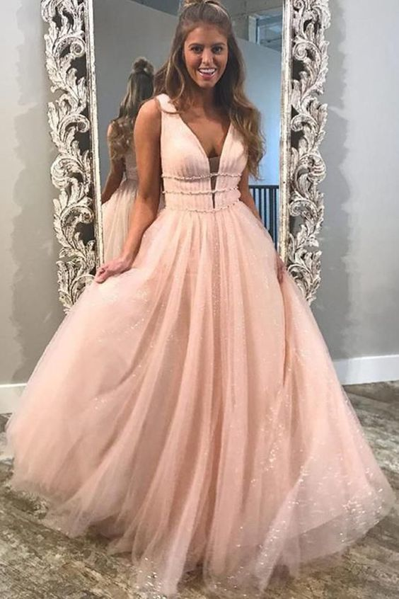 Pink Prom Dress,Tulle Prom Gown,V-Neck Prom Dress,A-Line Prom Gown 9783