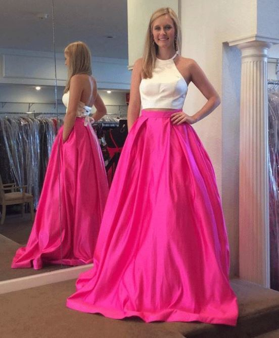 7498c94520 Gorgeous Two Piece White and Hot Pink Prom by moddress on Zibbet