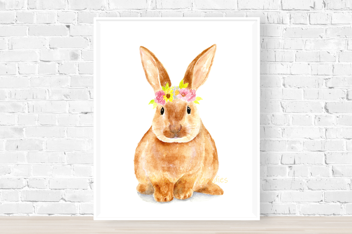 Bunny with Flower Crown Print