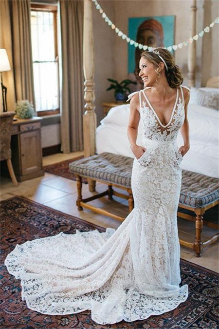 V Neck Sheer Bodice Lace Wedding Dress with Pockets