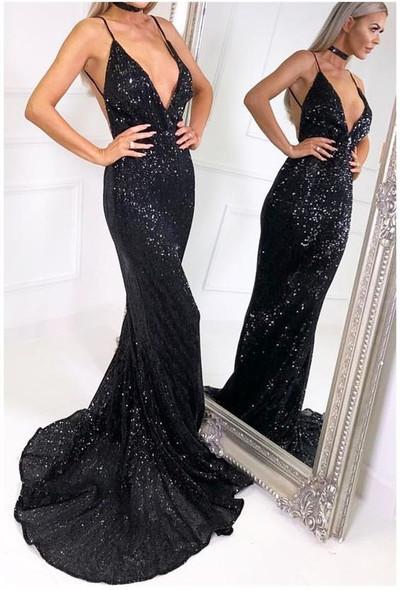 Backless V Neck Black Sequin Prom Dress By Destinydress On Zibbet
