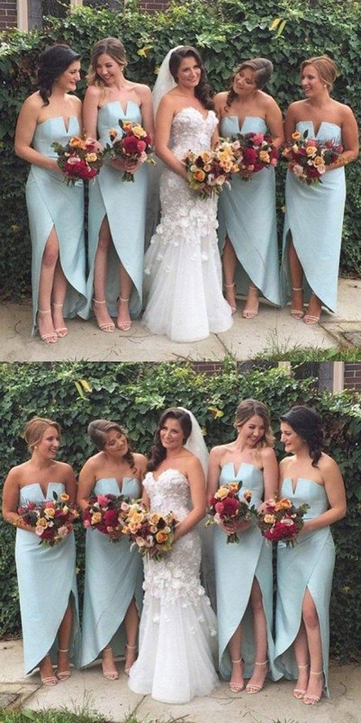 A-Line Strapless High Low Satin Bridesmaid Dresses