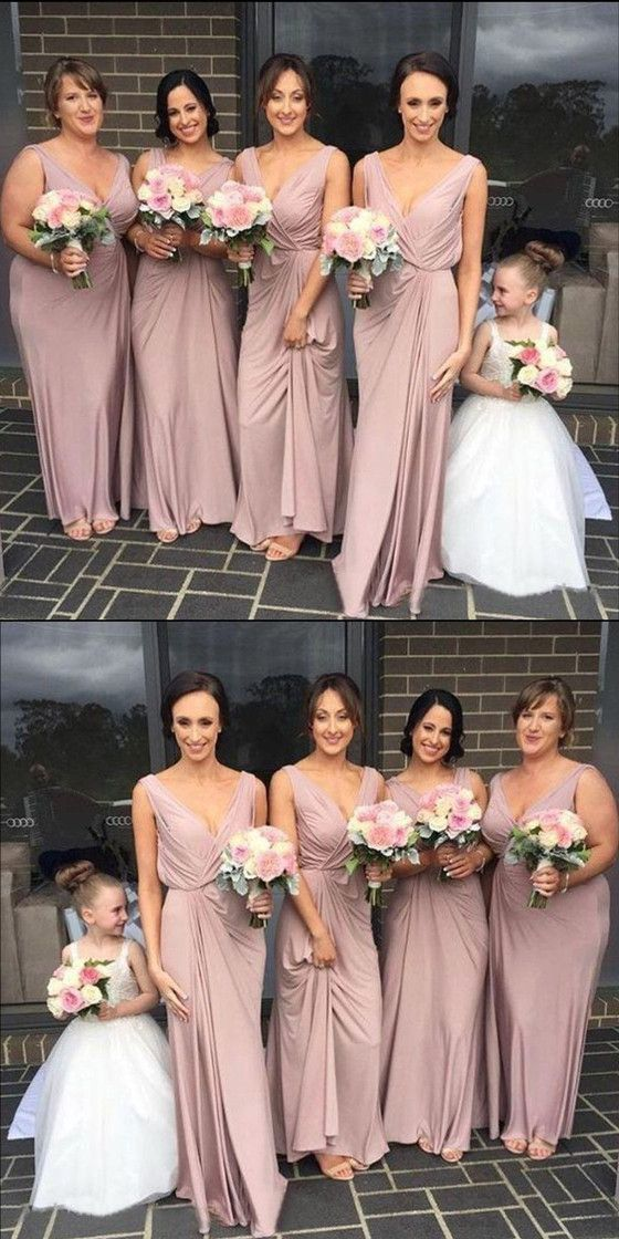 A-line Floor-lengthSimple Modest V-neck Cheap Dusty Pink Bridesmaid Dress