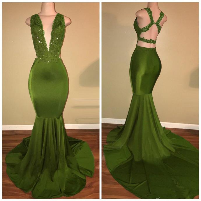 Plunging Neck Mermaid Prom Dress
