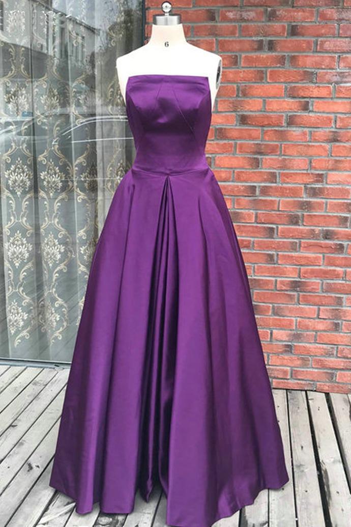 Simple Purple Satin Backless Long Prom Dress, Evening Dress