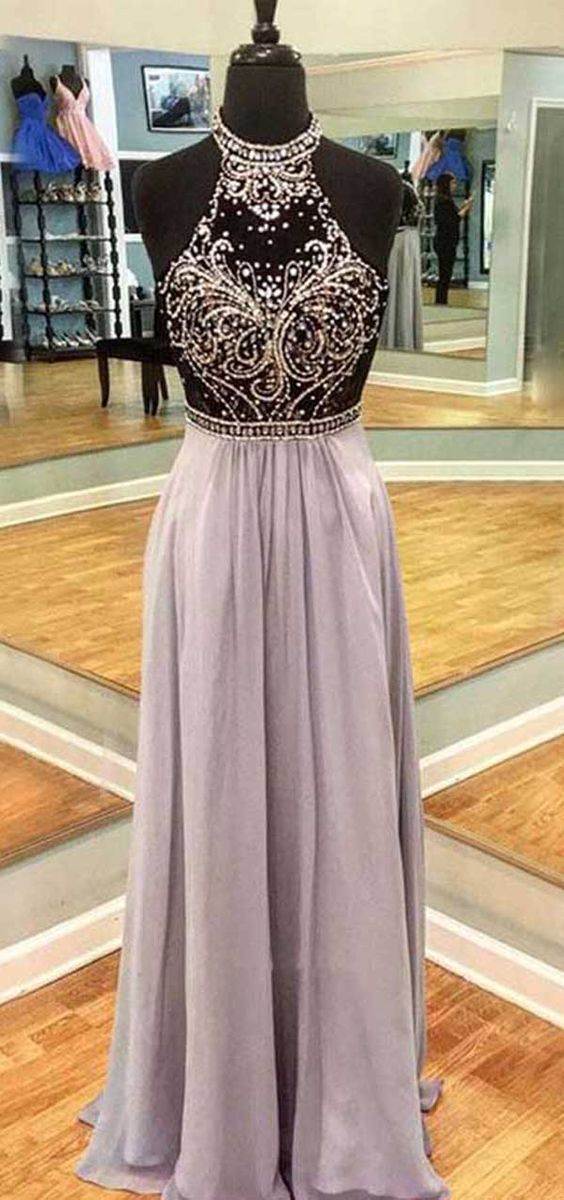 A Line Halter Open Back Black and Grey Beaded Long Prom Dresses