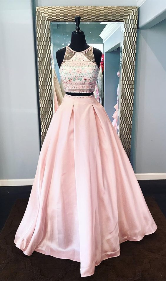 Beautiful Two Piece Bateau Sleeveless Floor-Length Pink Prom Dress with