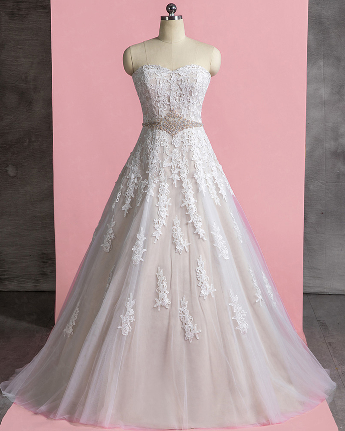 Sweetheart Ivory Tulle Pearl Waistline Long A Line Wedding Dress With Applique