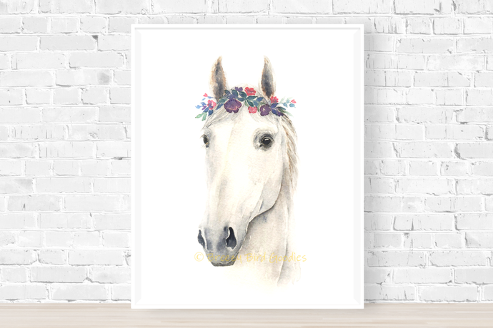 Horse Print, Watercolor Horse, White Horse, Horse Portrait, Horse with Flower