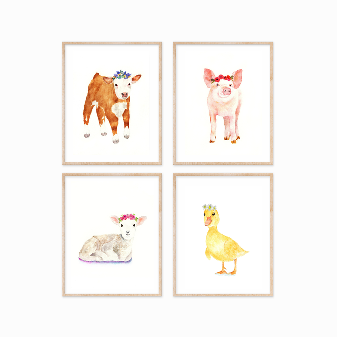 Set of 4 Farm Animals with Flower Crowns Prints