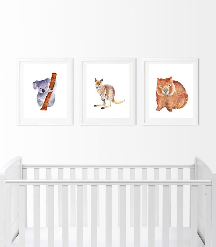Australian Marsupial Set of 3 Prints, Australian Animals Set, Nursery Animal