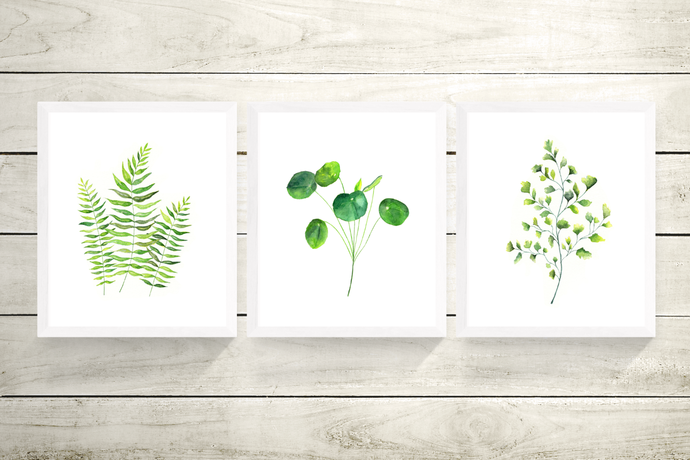 Green Leaves Set of 3 Prints