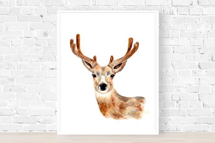 Deer Print, Watercolour Reindeer, Deer Illustration, Mule Deer Art, Art for