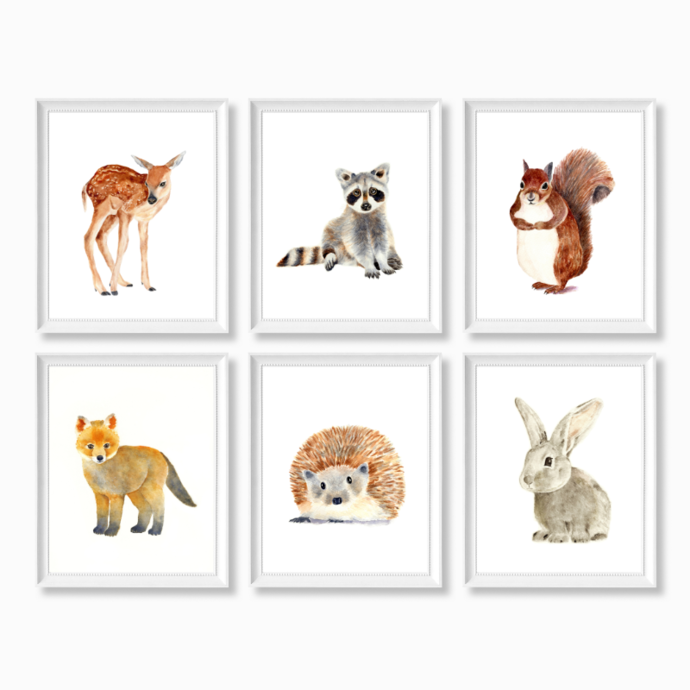 Forest Animals Set of 6 Prints, Watercolor Woodland Animals, Select 6 Prints,
