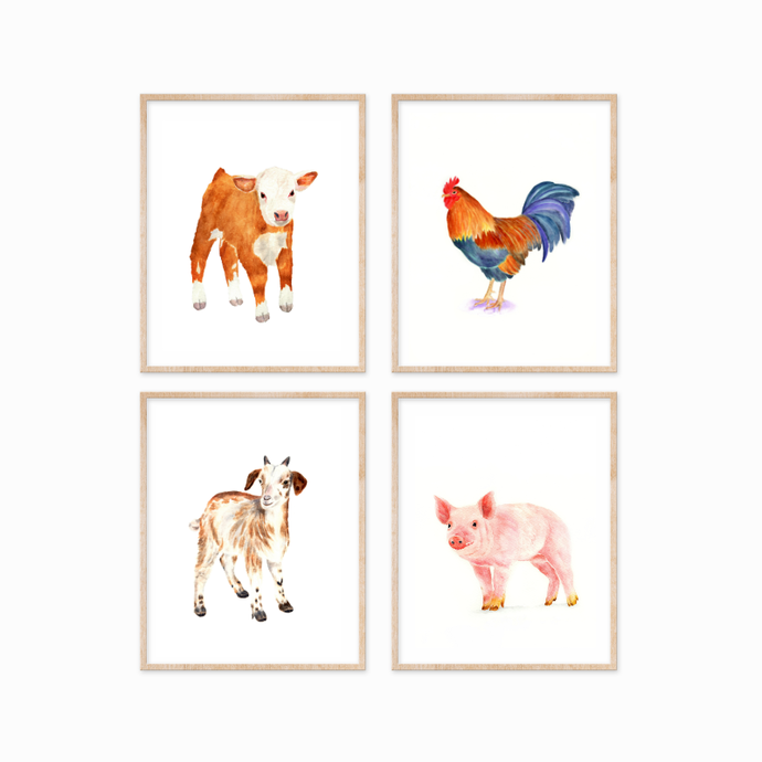Farm Yard Animals Print, Set of 4 Prints, Watercolour Farm Animals, Select 4