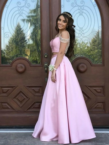 Simple Prom Dresses, Pink Prom Dresses, Two Pieces Prom Dresses, Modest Prom