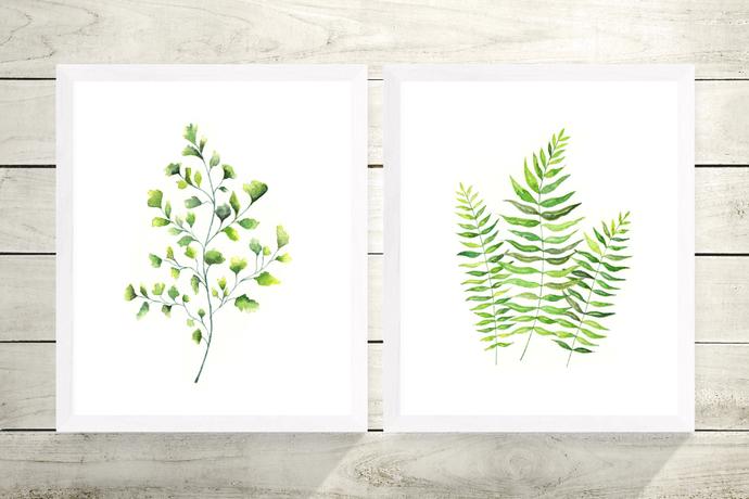 Set of 2 Fern Prints, Watercolour Ferns, Maidenhair Fern, Watercolour Leaves