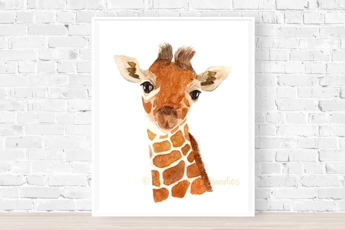 Keeley The Giraffe Print, Watercolour Giraffe, Animal Art, Nursery Art, Wall