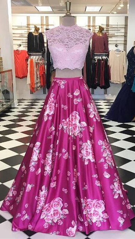 Modern Two Piece A-Line Prom Dress - Round Neck Sleeveless Floor-Length Lace