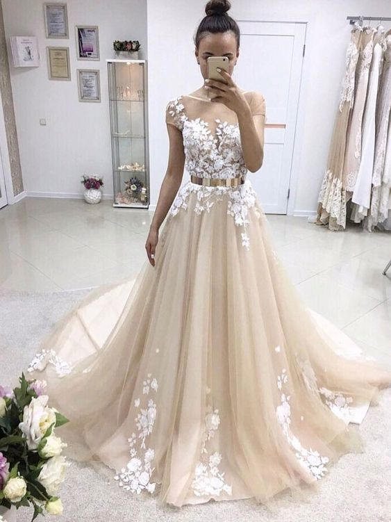 Short Sleeve Illusion Lace A-line Cheap Wedding Dresses