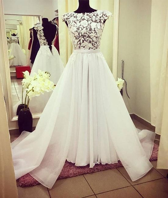 White round neck lace long prom dress, white evening dress