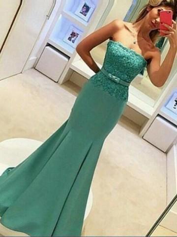 Elegant Evening Dress, Strapless Mermaid Long Formal Prom Dress Evening Dress