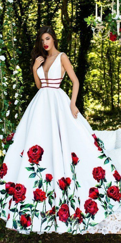 Plunging Rose Print Beaded Ball Gown
