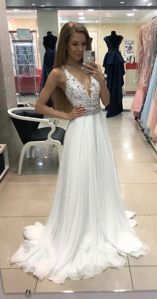 Hot sale White V Neck Chiffon Lace Long Prom Dresses Cheap Evening Dress Beading