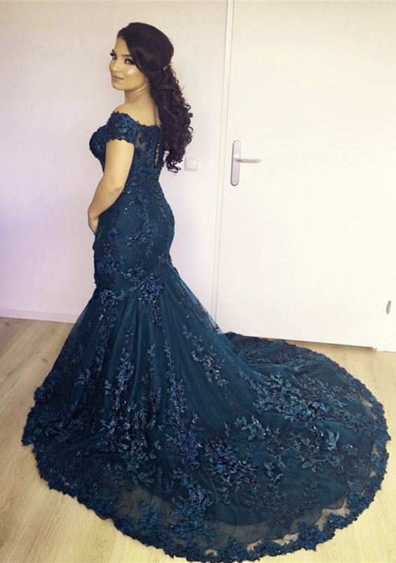 Off the Shoulder Navy Mermaid Formal Occasion Dress