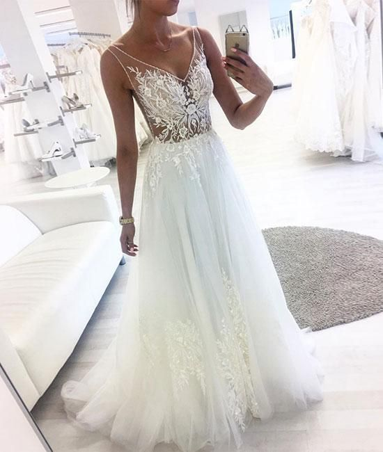 White v neck tulle lace long prom dress, white tulle evening dress