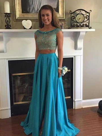 Prom Dresses A-Line, Two Pieces Prom Dresses, Prom Dresses Long