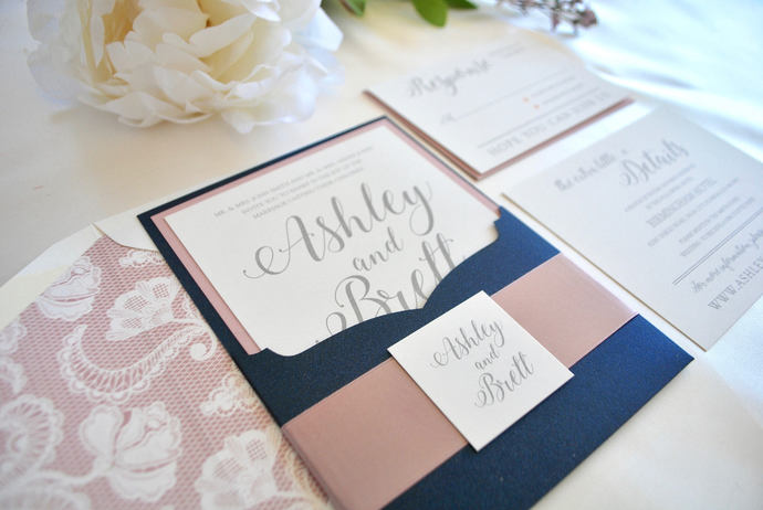 Reserved Listing for Maria Antonia- Navy Blue dusty rose Wedding Invitation