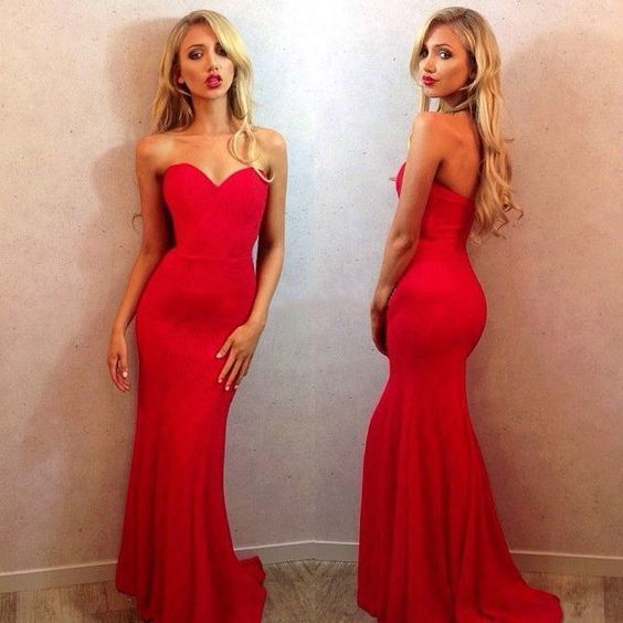 Red Sweetheart Prom Dresses, Simple Mermaid Prom Dress with Sweep Train,