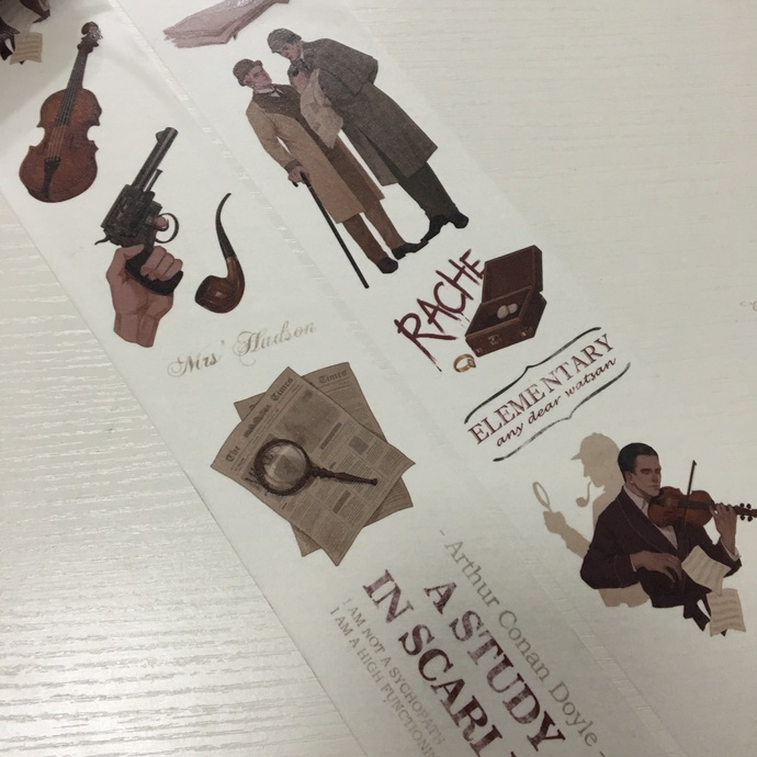 1 Roll of Limited Edition Washi Tape: Detective Sherlock Holmes