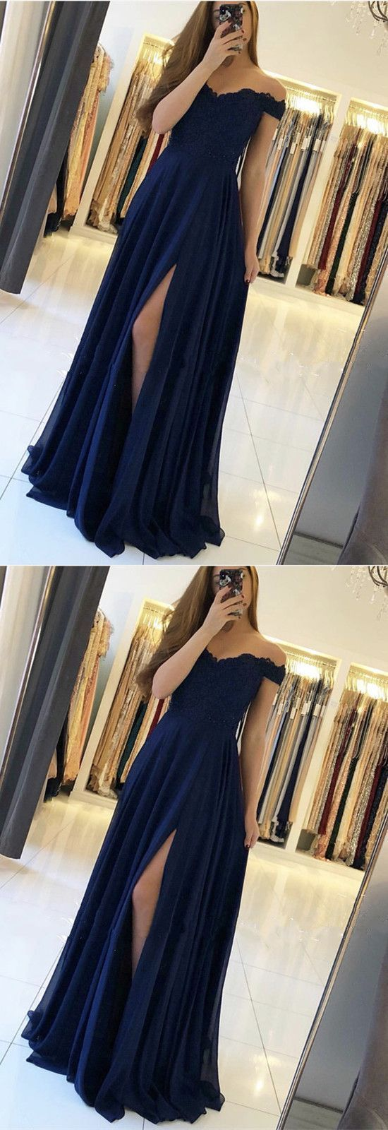 A Line Off the Shoulder Navy Blue Chiffon Long Prom Dress, Sexy Split Evening