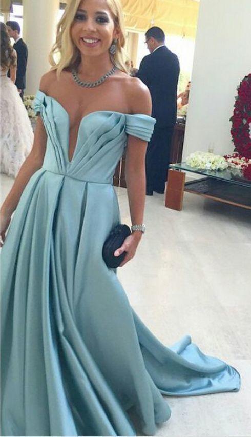 Beautiful Sexy Pleated Deep V Neck Off Shoulder Satin Prom Dresses, Elegant Long