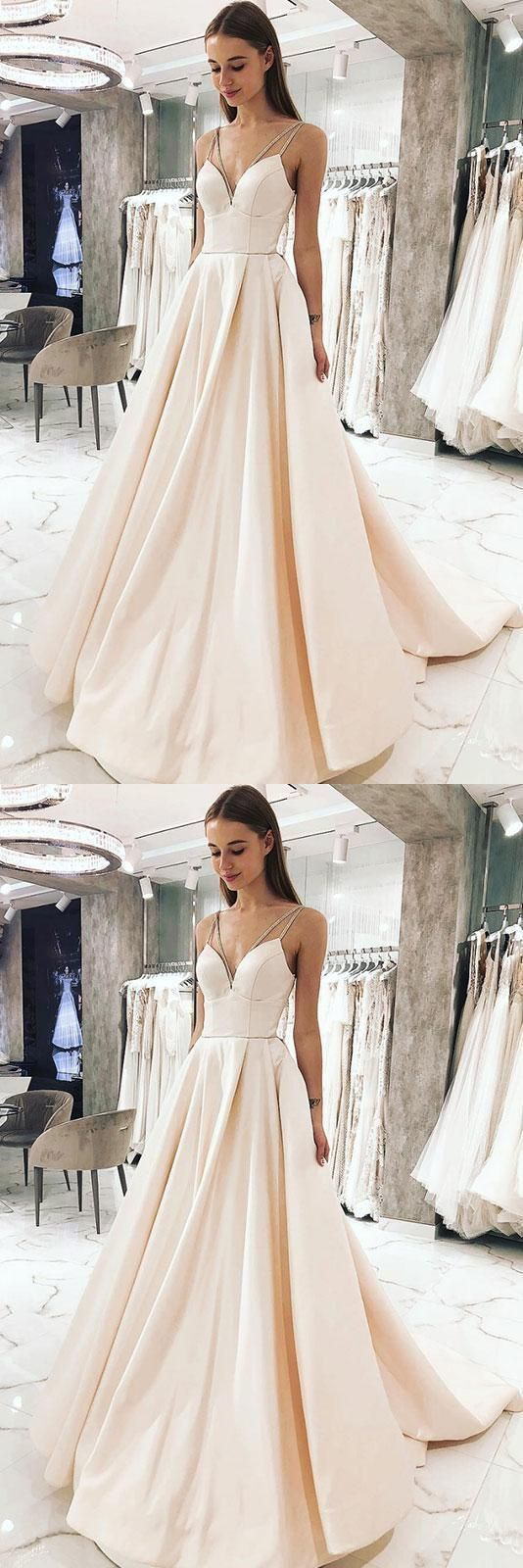 Charming simple v neck champagne satin long prom dress, spaghetti straps simple