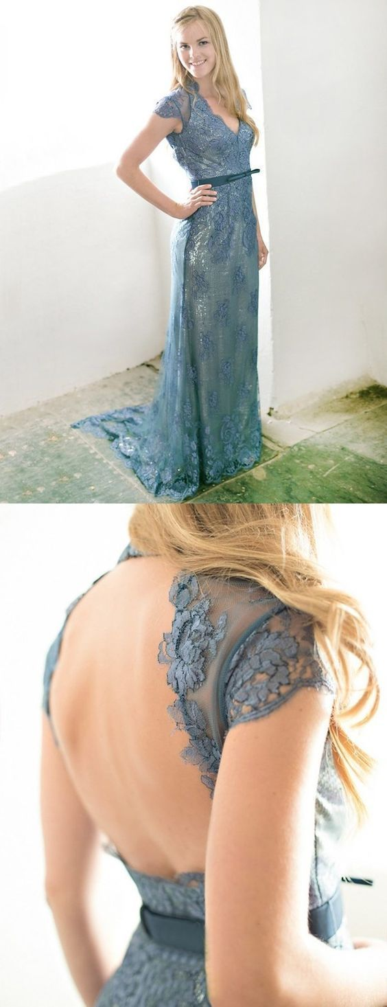 Gorgeous Sexy A-line V-neck Lace Cap Sleeves Open Back Sash Long Prom Dress
