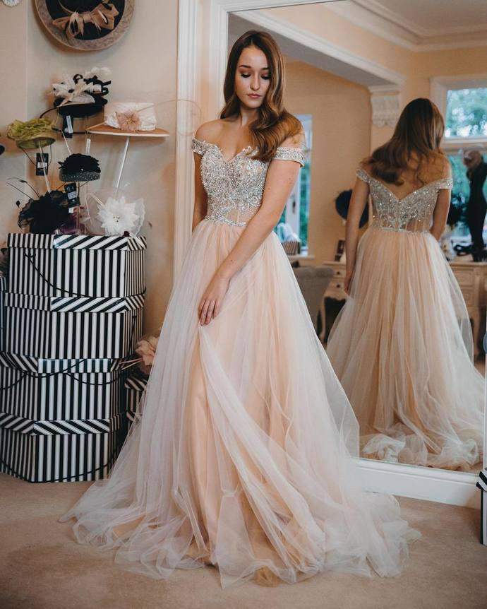 Charming Off the Shoulder Tulle Prom Dress,Beaded Evening Dress, Long Prom