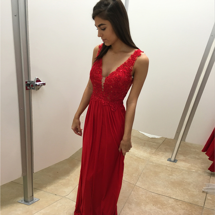 Prom Dresses,A-line Prom Dress,Backless Prom Dress,V Neck Prom Dresses